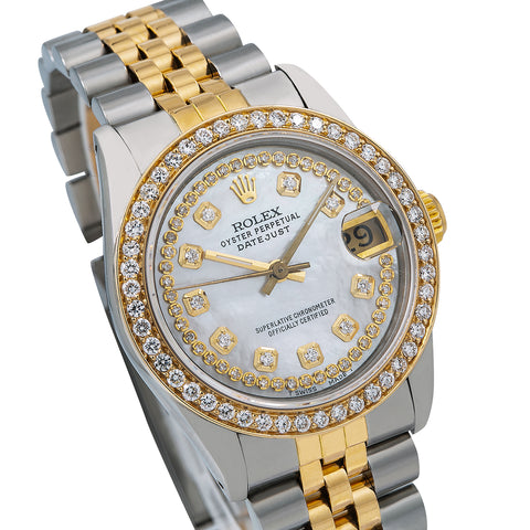 Rolex Datejust Diamond Watch, 68273 31mm, White Diamond Dial With Two Tone Bracelet
