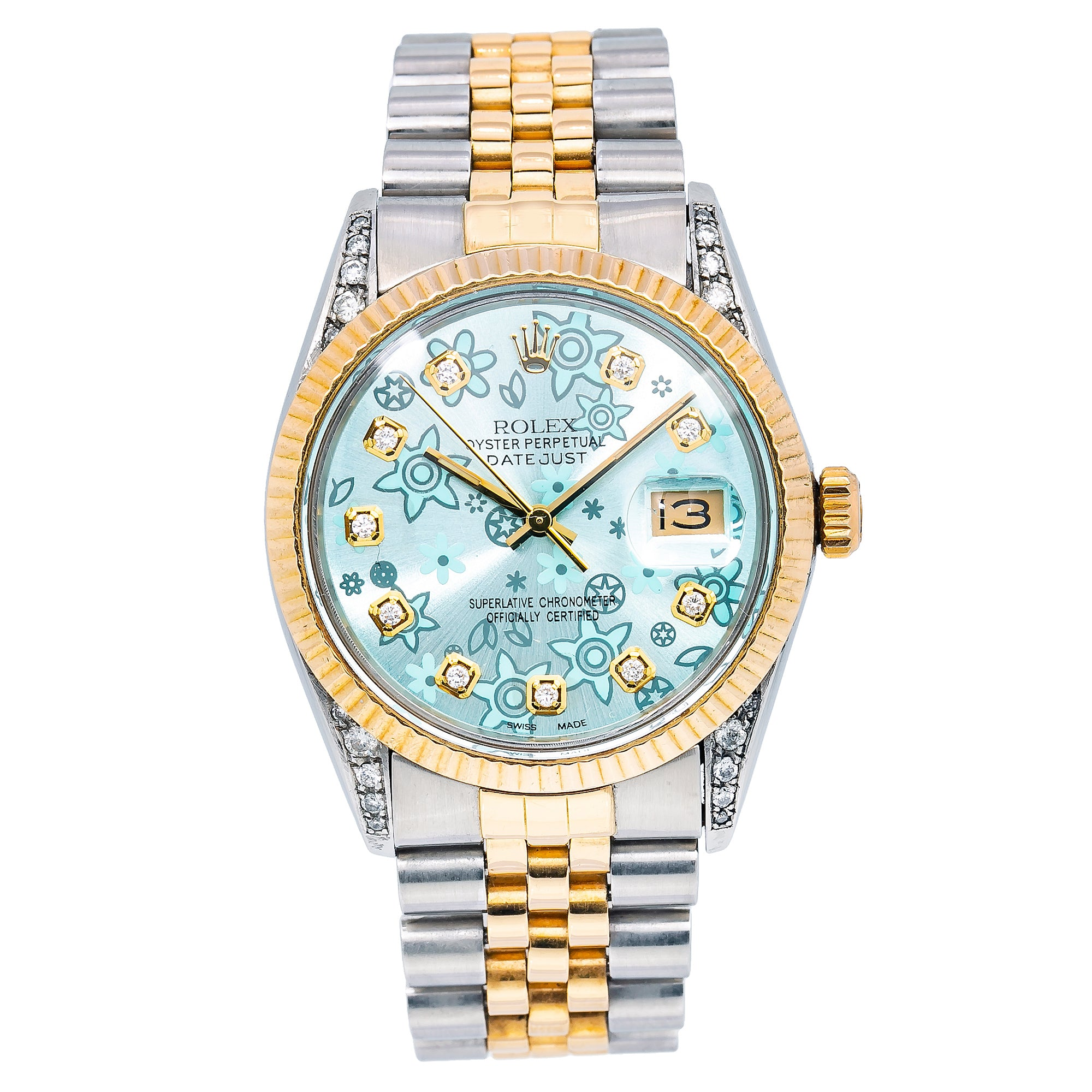 Rolex DateJust 36MM 1601 Flower Turquoise Dial With Two Tone Jubilee Bracelet