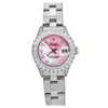 Ladies Rolex 26MM Pink MOP Diamond Dial Stainless Steel Oyster Bracelet