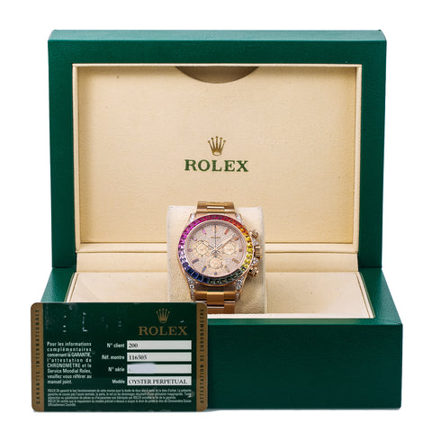 Rolex Daytona Diamond Watch, 116505 40mm, Rainbow Bezel Rose Gold Diamond Dial With Rose Gold Oyster Bracelet