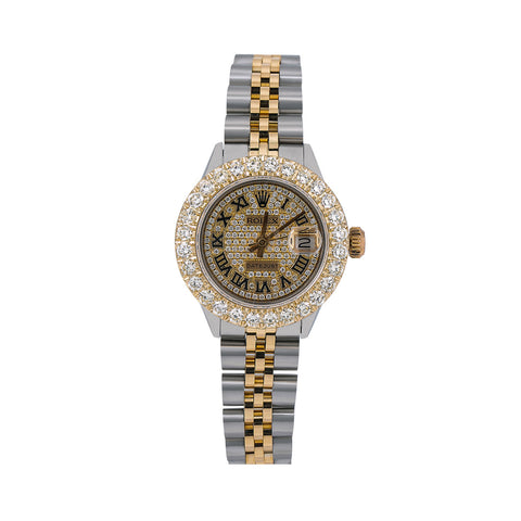 Rolex Lady-Datejust Diamond Watch, 6917 26mm, Champagne Diamond Dial With Two Tone Bracelet