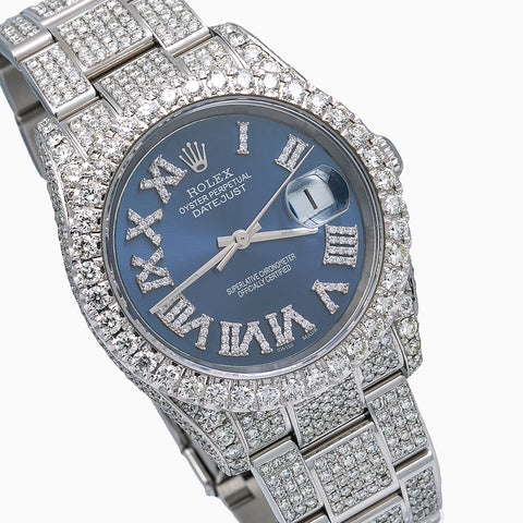 Rolex Datejust Diamond Watch, 116234 36mm, Blue Dial With 14.75 CT Diamonds