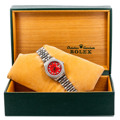Rolex Lady-Datejust 69174 26MM Red Diamond Dial With Stainless Steel Jubilee Bracelet