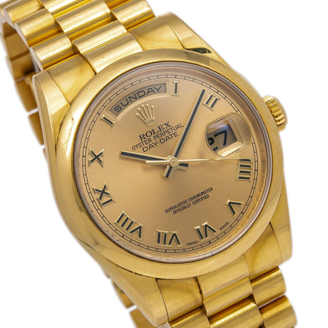 Rolex Day-Date 118208 36MM Champagne Dial With 18K Yellow Gold President Bracelet