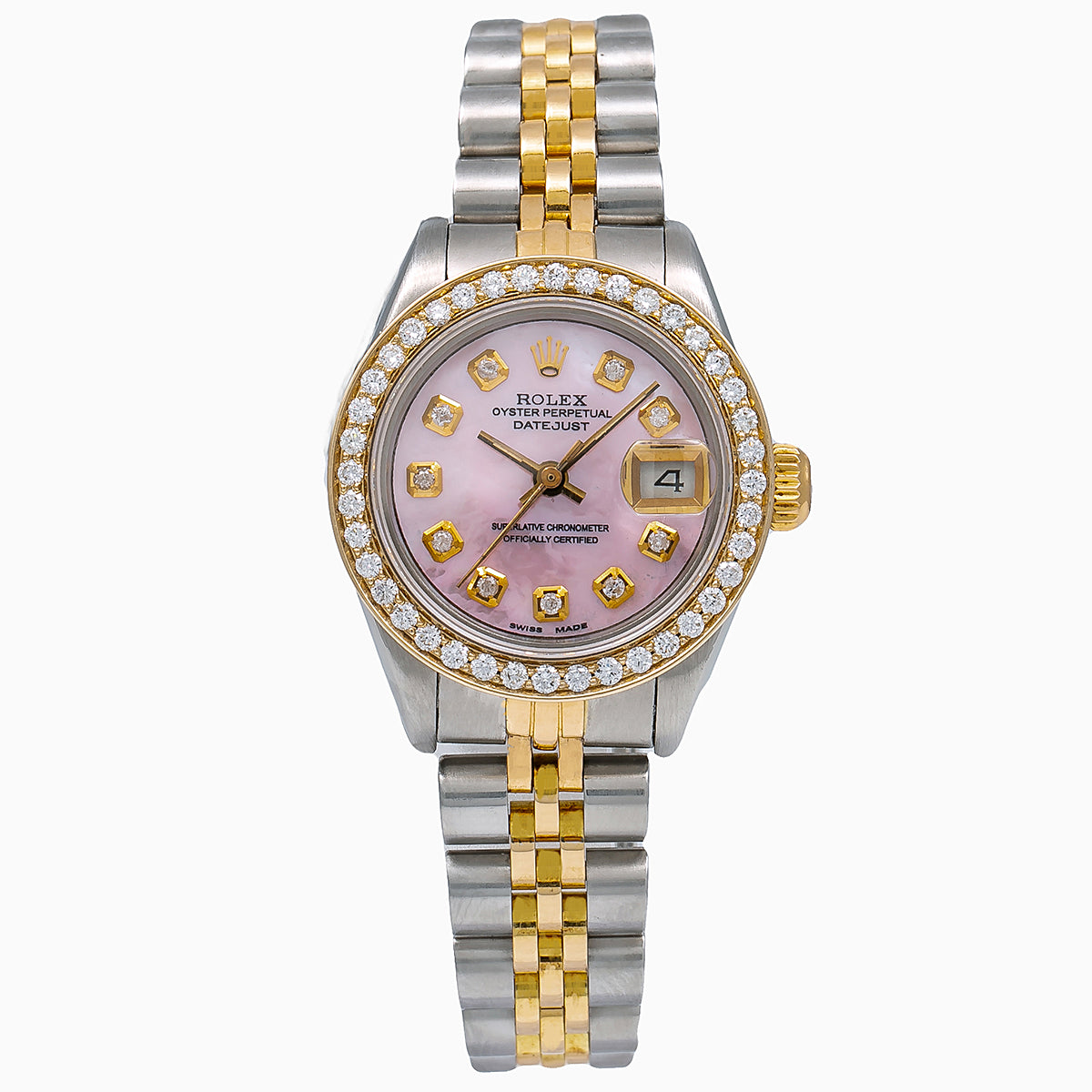 Rolex Datejust Diamond Watch, 69173 26mm, Pink Diamond Dial With 0.90 CT Diamonds