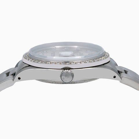 Rolex Oyster Perpetual Diamond Watch, Date 15010 34mm, Silver Diamond Dial With 1.20 CT Diamonds