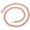 "14K ROSE GOLD 24"" CUBAN CHAIN WITH 15.50 CT DIAMONDS"