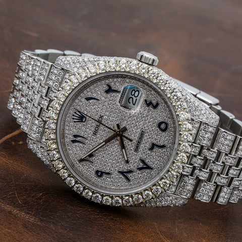 Rolex Datejust Diamond Watch, 126300 41mm, Silver Diamond Dial Flower Setting 18 Carat Diamonds Jubilee Bracelet