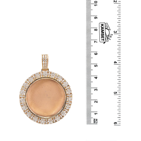 Unisex 14K Rose Gold Blank Bezel Pendant with 2.40 CT Diamonds