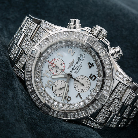 Breitling Super Avenger A13370 48MM White Diamond Dial With 20.71 CT Diamonds