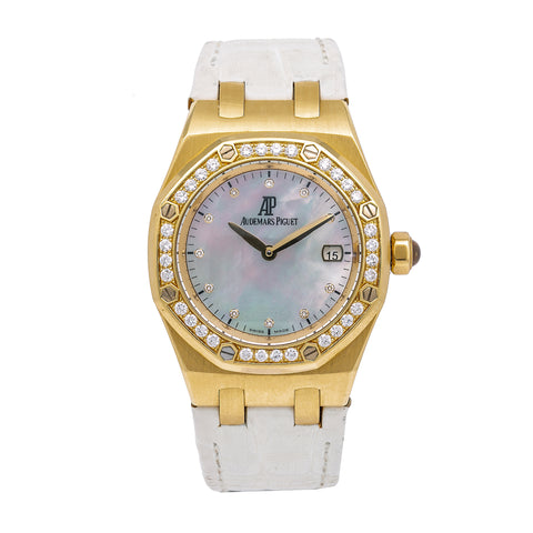 Audemars Piguet Royal Oak Lady 67601BA.ZZ.D012CR.03 33MM White FACTORY Mother of Pearl Dial With Leather Bracelet