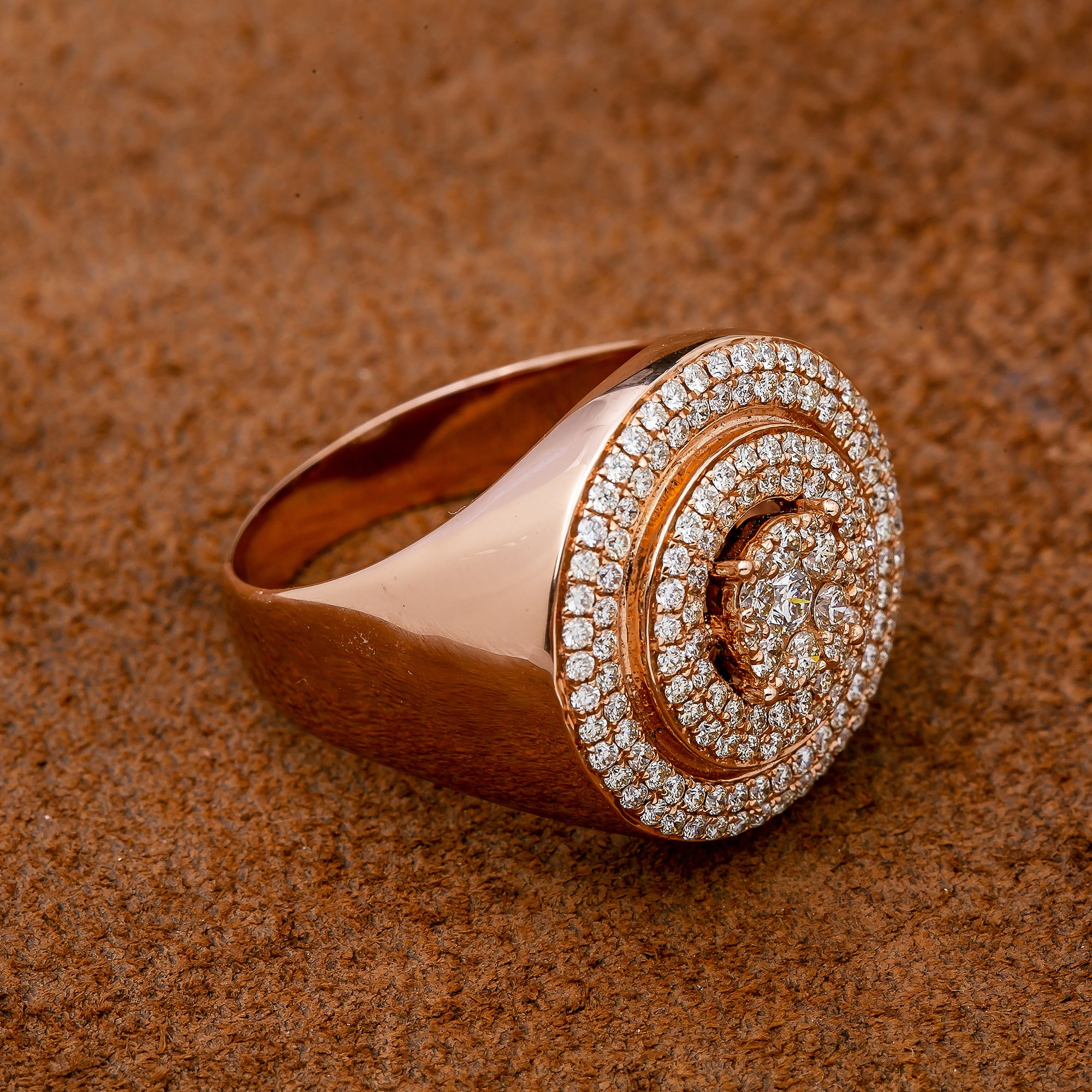 Unisex 14K Rose Gold Fancy Diamond Ring