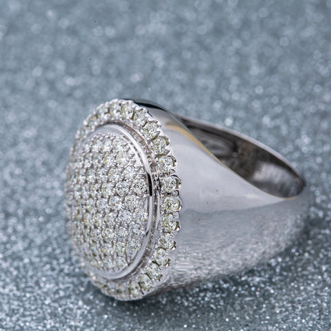 Unisex 14K  White Gold Fancy Diamond Ring
