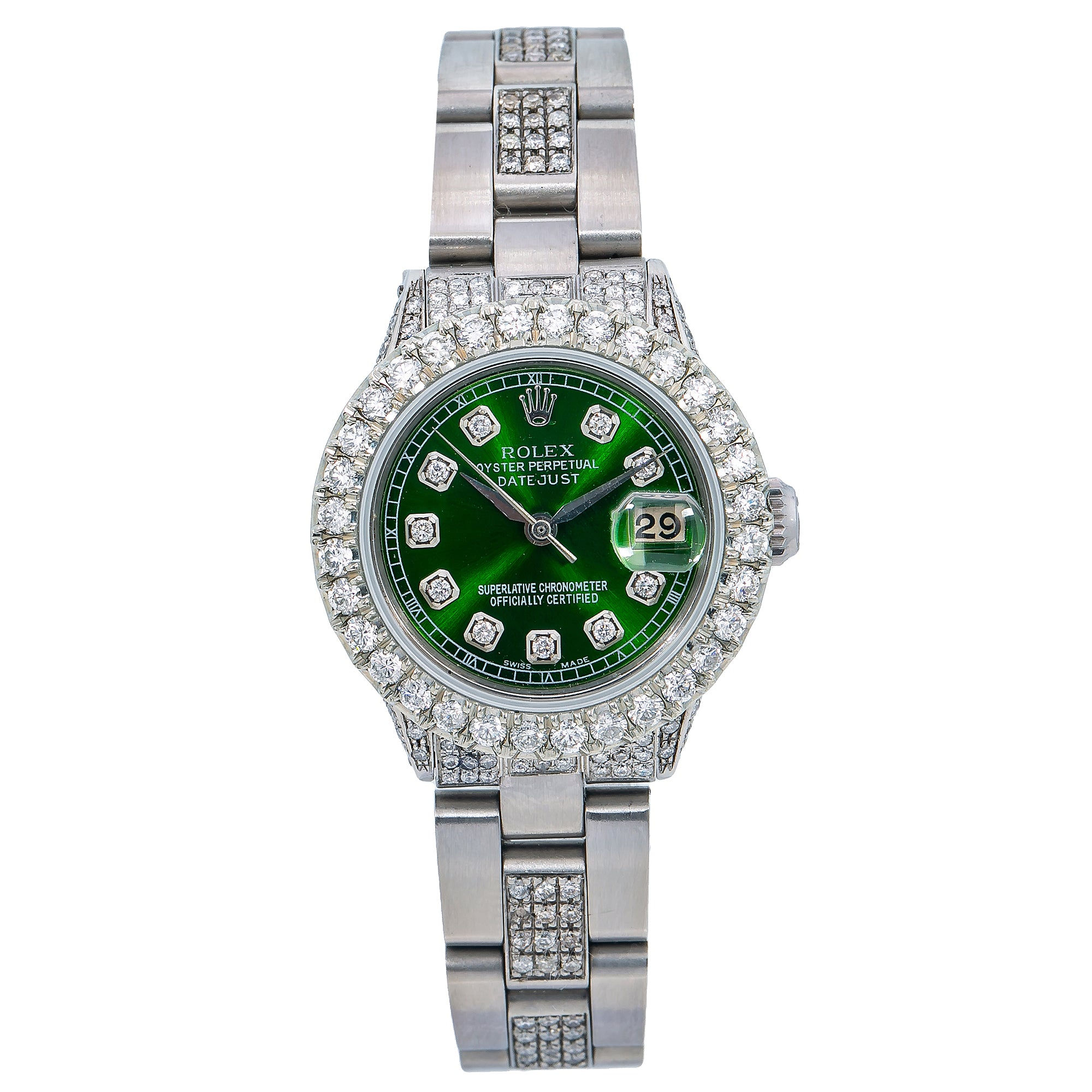 Rolex DateJust 26MM Green Diamond Dial With 6.05 CT Diamonds