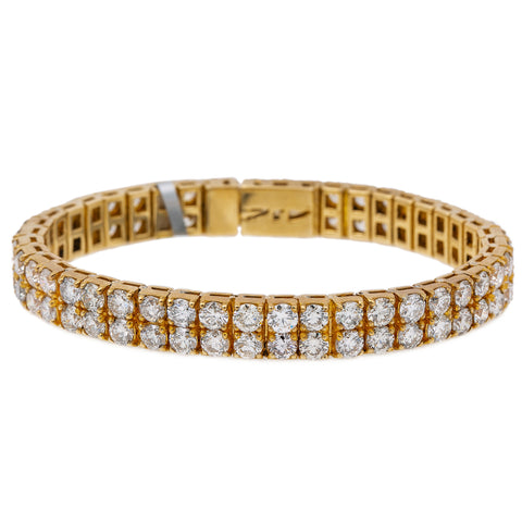 10K Yellow Gold Men's Two Row Tennis Bracelet With 26.40 CT Round Diamonds