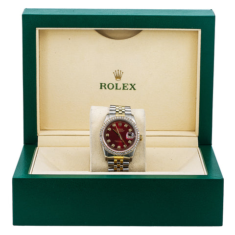 Rolex Datejust Diamond Watch, 16013 36mm, Red Diamond Dial With Two Tone Jubilee Bracelet