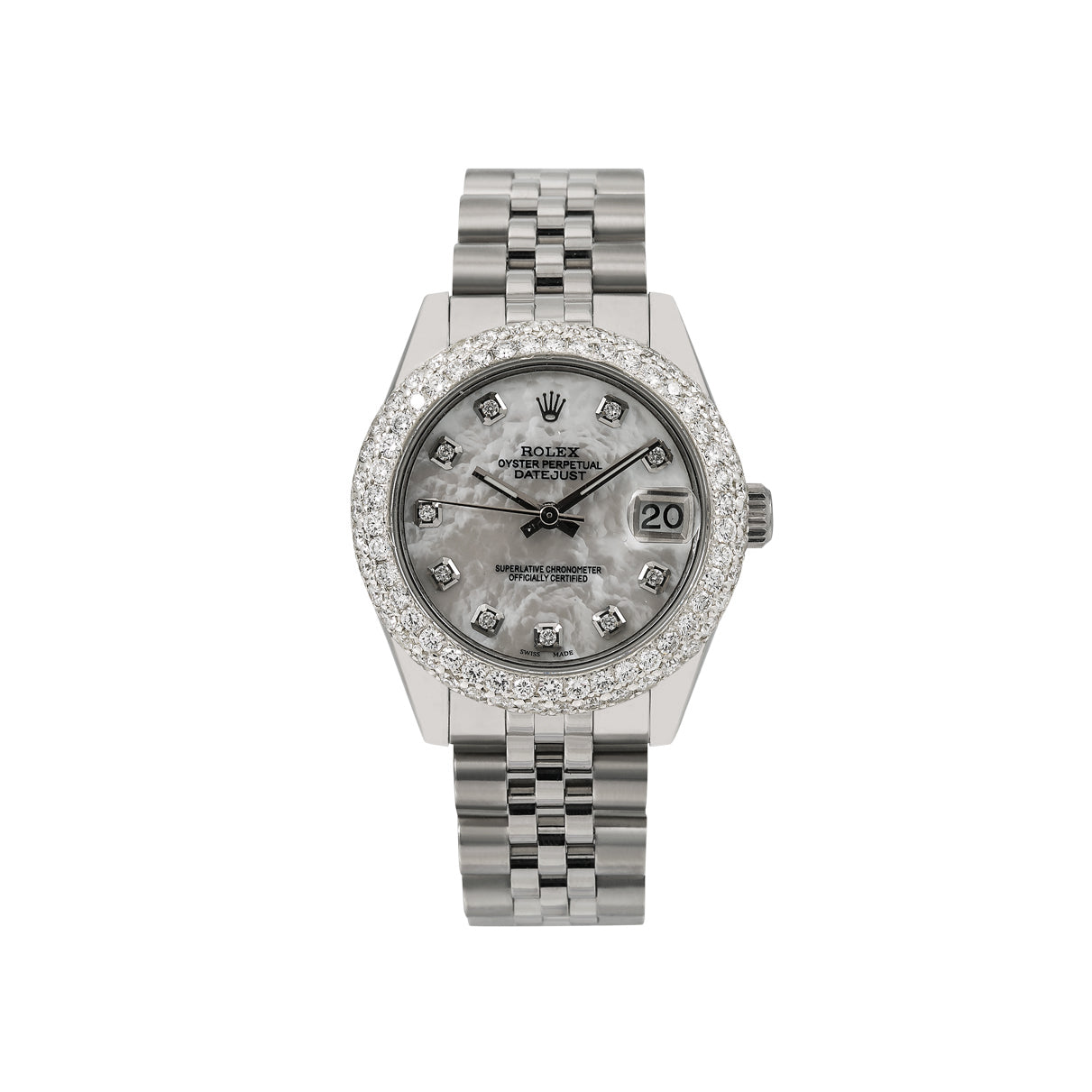 Rolex Lady-Datejust Diamond Watch, 178240 31mm, White Diamond Dial With Stainless Steel Jubilee Bracelet