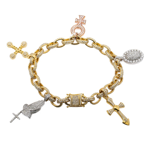 14K Yellow Gold Charm Bracelet Set With 5 Charms With Total of 18.25 CT Diamonds