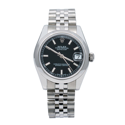 Rolex Lady-Datejust 178240 31MM Black Dial With Stainless Steel Jubilee Bracelet