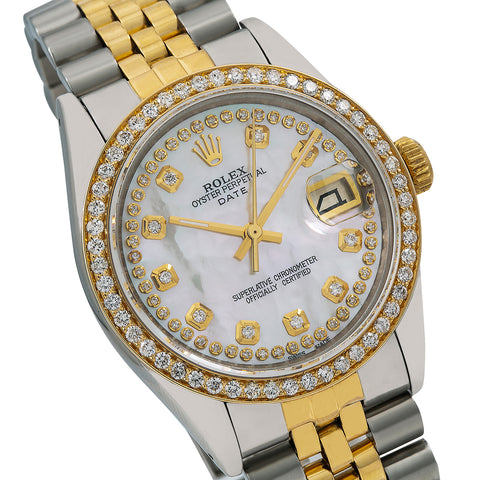 Rolex Oyster Perpetual Diamond Watch, Date 1500 34mm, Mother of Pearl Diamond Dial With Two Tone Oyster Bracelet