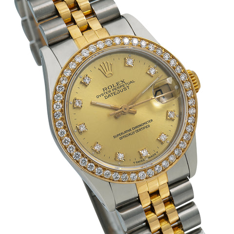 Rolex Lady-Datejust Diamond Watch, 68273 31mm, Champagne Diamond Dial With 1.05 CT Diamonds