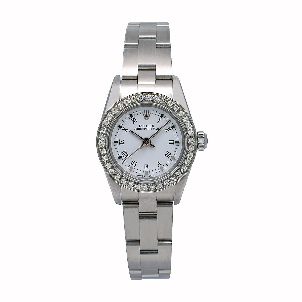 Rolex Oyster Perpetual Ladies Diamond Watch, 76094 26mm, White Diamond Dial With 0.80 CT Diamonds
