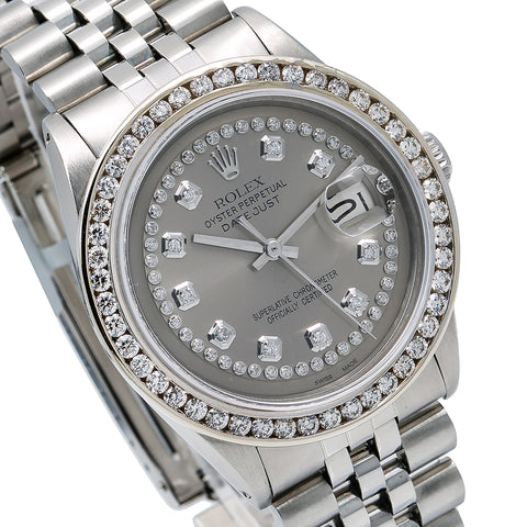 Rolex Datejust Diamond Watch, 36mm, Grey Diamond Dial With Stainless Steel Bracelet