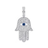 14K White Gold Unisex Hamsa Pendant with 1.08 CT Diamond and 0.15 Ct Sapphire