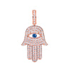 14K Rose Gold Unisex Hamsa Pendant with 1.08 CT Diamond and 0.15 CT Sapphire