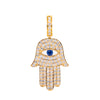 14K Yellow Gold Unisex Hamsa Pendant with 1.091 CT Diamond and 0.15 CT Sapphire