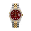 Rolex Oyster Perpetual Date 15053 34MM Red Diamond Dial With Two Tone Jubilee Bracelet