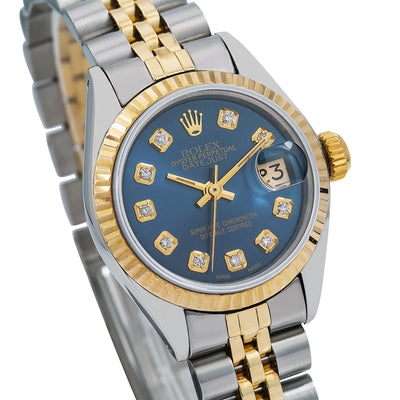 Rolex Datejust 6917 26MM Blue Diamond Dial With Two Tone Jubilee Bracelet