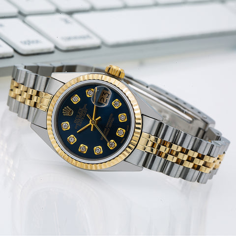 Rolex Datejust Diamond Watch  6917 26mm Blue Diamond Dial With Two Tone Jubilee Bracelet