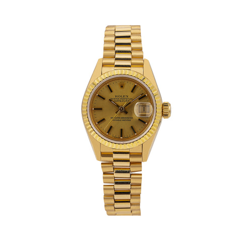 Rolex Datejust 69178 26MM Champagne Dial With Yellow Gold President Bracelet