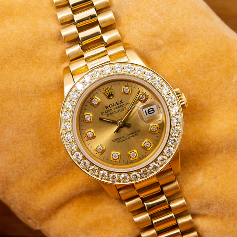 Rolex Lady-Datejust 6917 26MM Champagne Diamond Dial With Yellow Gold Bracelet