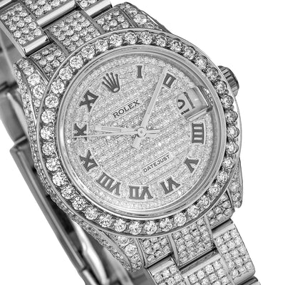 Rolex Lady-Datejust 178240 31MM  Iced Out With 8.75 CT Diamonds