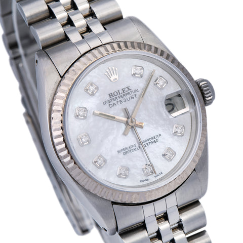 Rolex Datejust 6824 Silver Custom Diamond Mother of Pearl Dial With Stainless Steel Jubilee Bracelet