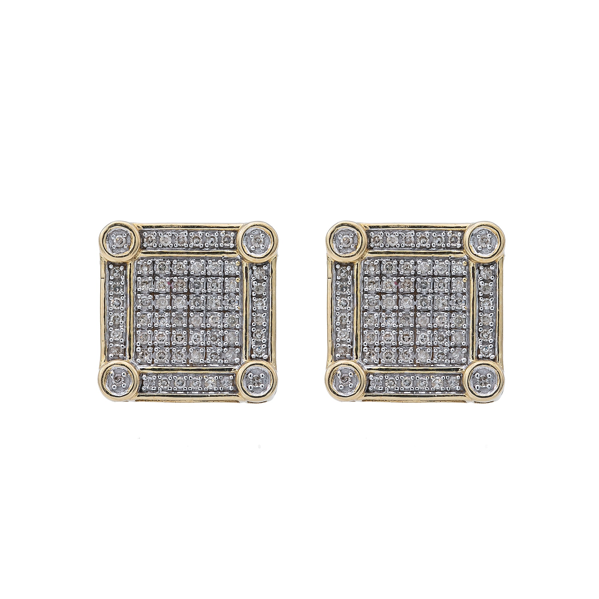 10K Yellow Gold Unisex Earrings with 0.65 CT Diamond
