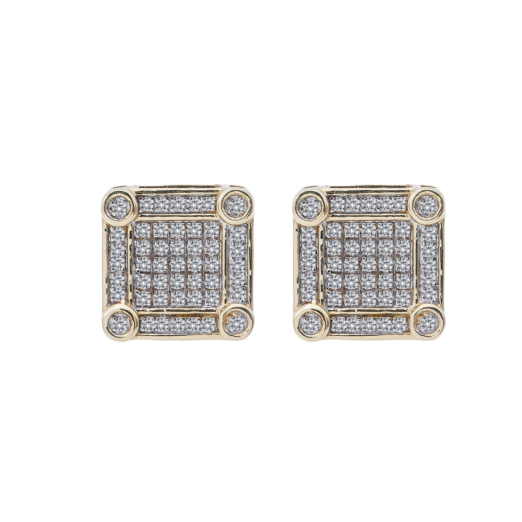 14K Yellow Gold Unisex Earrings with 0.49 CT Diamond