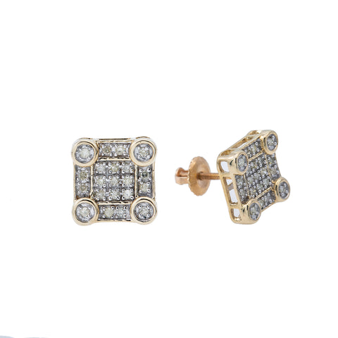 10K Yellow Gold Unisex Earrings with 0.23 CT Diamond