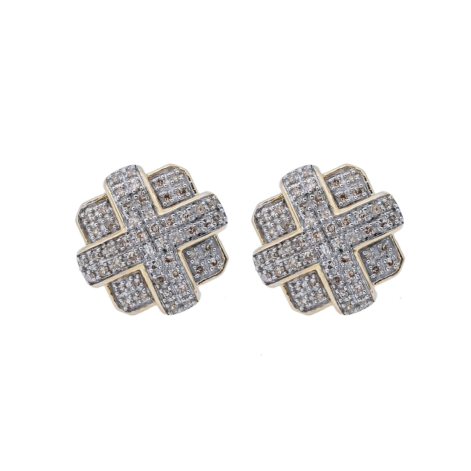 10K Yellow Gold Unisex Earrings with 0.39 CT Diamond