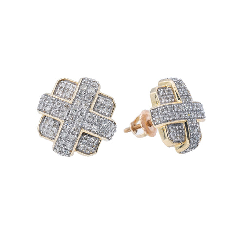 10K Yellow Gold Unisex Earrings with 0.58 CT Diamond