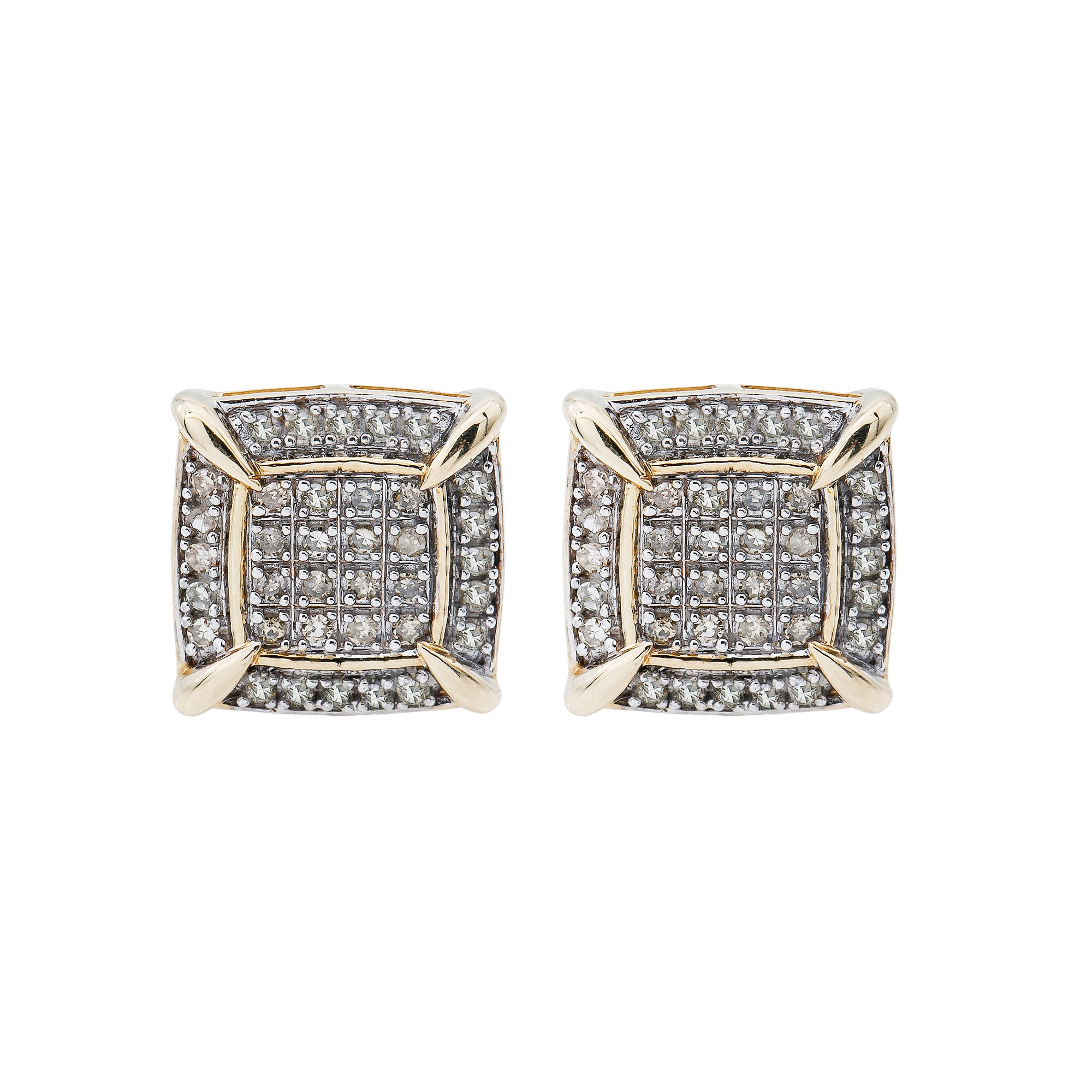 10K Yellow Gold Unisex Earrings with 0.38 CT Diamond  Metal: 14K Yellow Gold