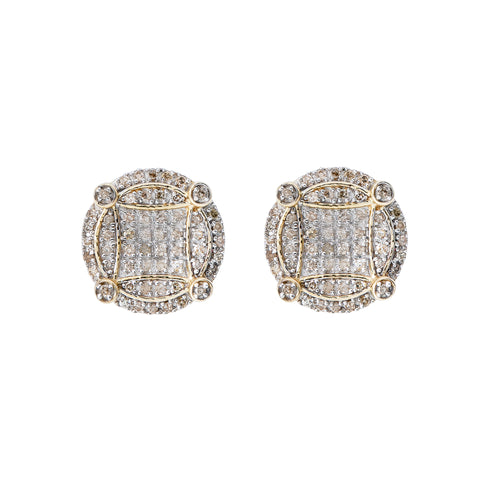 14K Yellow Gold Unisex Earrings with 0.42 CT Diamond