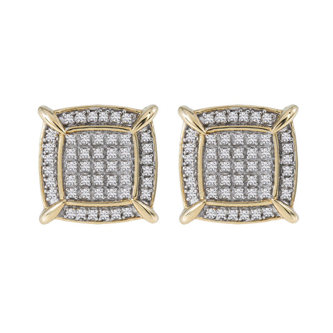 10K Yellow Gold Unisex Earrings with 0.61 CT Diamond