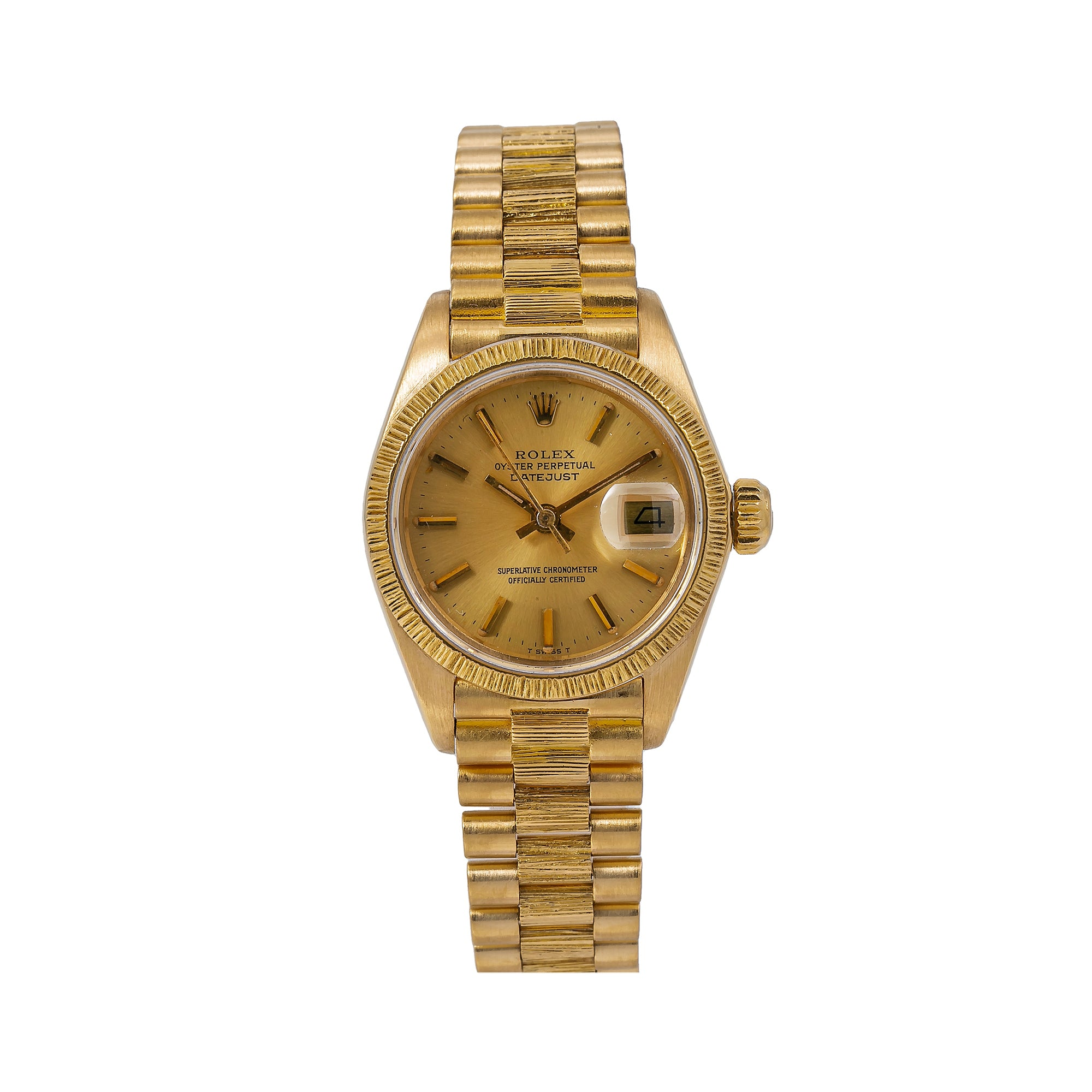 Rolex Lady-Datejust 6917 26MM Champagne Dial With Yellow Gold President Bracelet