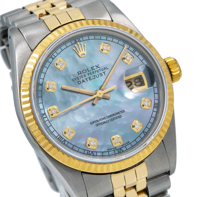 Rolex Datejust 36MM Blue mop Diamond Dial With Two Tone Jubilee  Bracelet