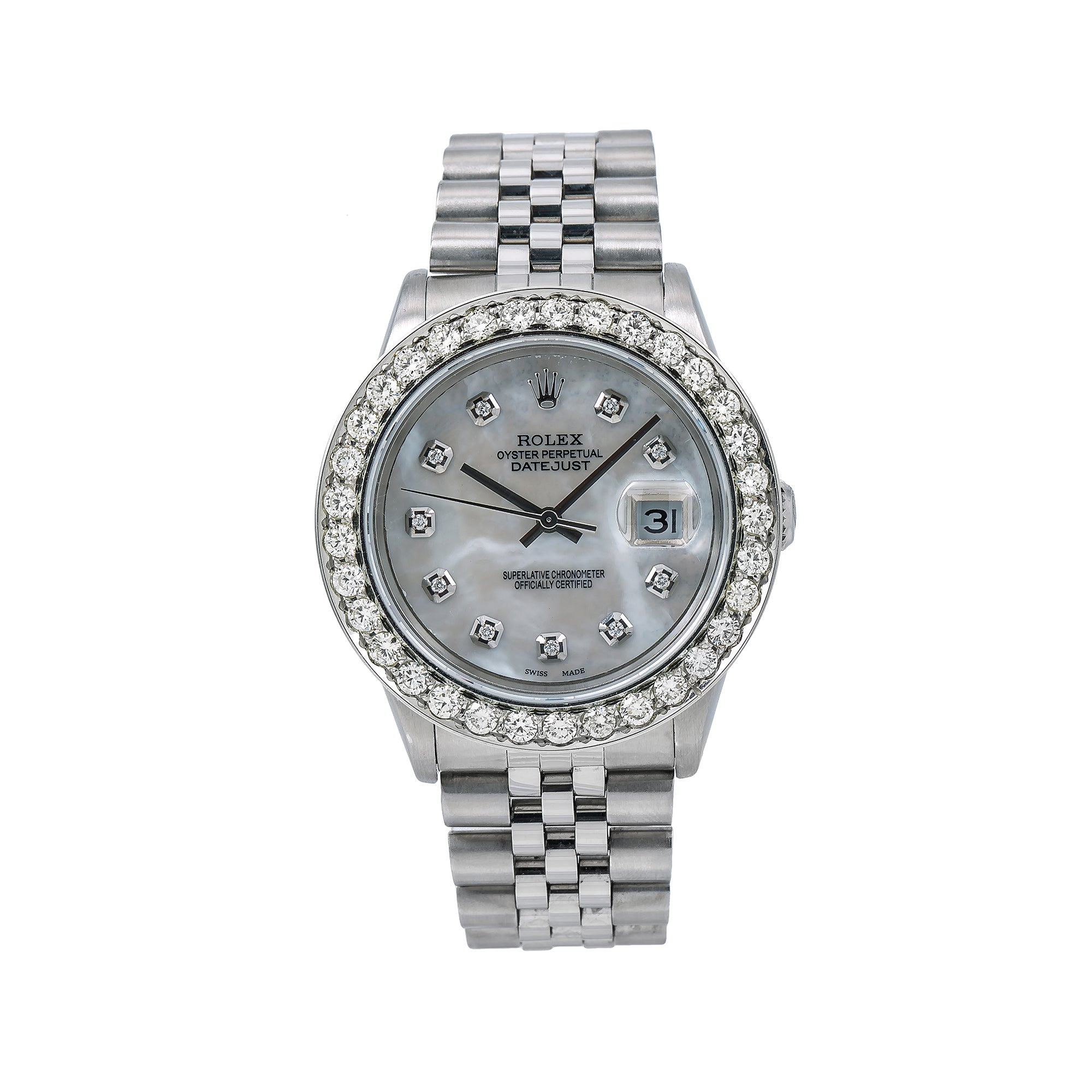 Rolex Datejust 16014 36mm Silver MOP Dial With Stainless Steel Jubilee Bracelet