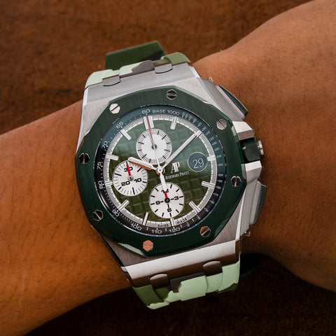Audemars Piguet Royal Oak Offshore Chronograph 26400SO 44MM Green Dial With Rubber Bracelet