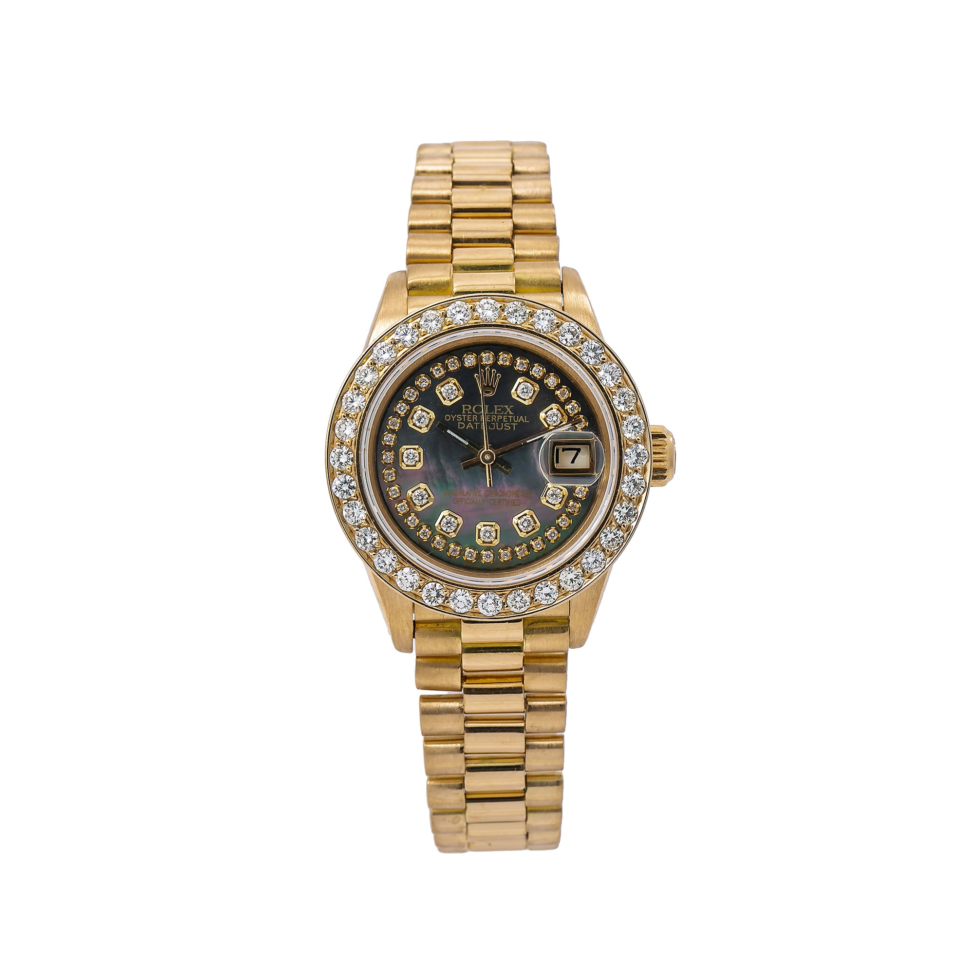 Rolex Lady-Datejust Diamond Watch, 6917 26mm, Black Diamond Dial With Yellow Gold Bracelet